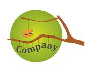 Burger on a branch logo — Stock Vector