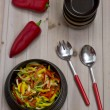 Pepper salad from red, green and yellow pepper — Stock Photo
