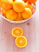 Oranges in a basket — Stock Photo