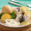 Stock Photo: Rollmop herring with jacket potatoes