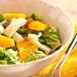 Stock Photo: Fennel oranges salad with salad hearts and diced bacons