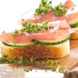 Stock Photo: Ham sandwich with cucumber and fresh cress
