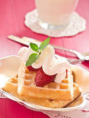Waffles with strawberries — Stock Photo