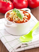 Tomato soup with Basil — Stock Photo