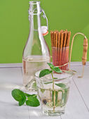 Hugo - cocktail of champagne and elderberry syrup with fresh mint — Stock Photo