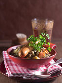 Lentil soup with sausages — Stock Photo