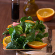 Foto de Stock  : Field salad with oranges and Bacon