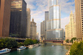 Boats on Chicago River — Stock Photo