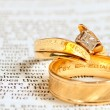 Bible & wedding rings - Stock Photo