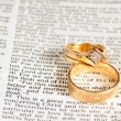 Marriage text & rings — Stock Photo