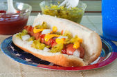 Loaded frankfurter — Stock Photo