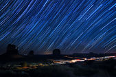 Monument Valley Star Trails — Stock Photo