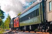 Steam train passing — Stock Photo