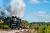 Steam train getting close — Stock Photo