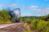 Steam train coming — Stock Photo