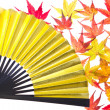Stock Photo: Maple leaf and fan