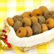 Donuts served in a basket — Stock Photo