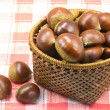 Chestnuts was served in a basket — Stok fotoğraf