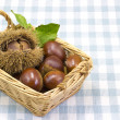 Chestnuts was served in a basket — Stock Photo