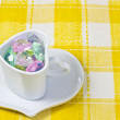 Colorful Heart in a cup — Stock Photo