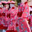 Girls in kimono parade — Stock Photo