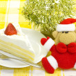 Shortcake and Santa Claus — Stock Photo
