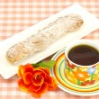 Stock Photo: Coffee and sugar bread