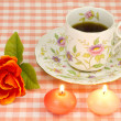 Rose and candles and coffee — Stock Photo