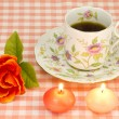 Rose and candles and coffee - Stock Photo