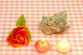 Cáscara de turbante y una rosa y velas — Foto de Stock