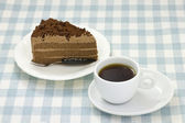 Chocolate cake and coffee — Stock Photo