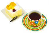 Coffee and fruit shortcake — Stock Photo