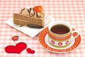 Strawberry short cake and coffee — Stock Photo