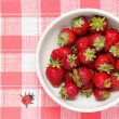 Strawberries in a bowl and ladybird — Stock Photo #24240233