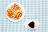 Coffee and waffles — Stock Photo