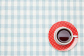 Coffee on the table cloth — Foto de Stock