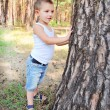 Beautiful boy stands near a tree in the forest - Foto Stock