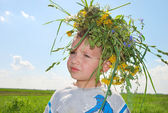 Boy with wreath — Stock Photo
