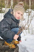 Boy with willow — Stock Photo