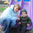 Royalty-Free Stock Photo: Mom and son on the playground
