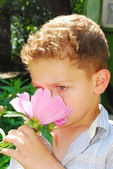 Boy smelling a peony. — Stock Photo