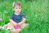 Little girl sits on a lawn of clover. — Stock Photo