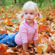 Stock Photo: Blond girl in yellow leaves