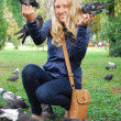 The park, the girl feeding pigeons — Stock Photo #31495033