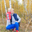 Birch forest dad blond blonde daughter hugging — Stock Photo