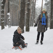 Winter mother carries son on a sledge in the snowy woods — Stock Photo #38457081