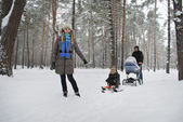 Family on a walk in a winter snow-covered forest. — Stock Photo