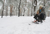 Mom and son sledding in the winter with snow-covered forest, fro — Stock Photo