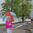 In the spring of a little girl standing under an umbrella on th — Стоковое фото