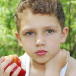 Boy sits in a pine forest on a log and eats an apple — Stock Photo